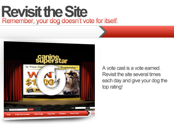 Revisit the site. Remember, your dog doesn't vote for itself. A vote cast is a vote eanred. Revisit the site several times each day and give your dog the top rating!